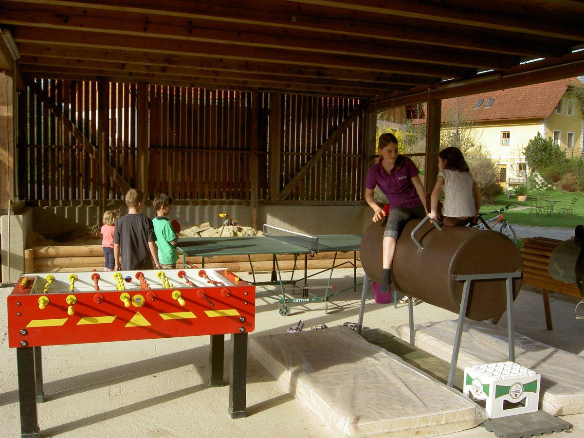 Drehfussball, Tischtennis, Tonnenpferd, Turnpferd